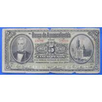Billete México Banco De Aguascalientes 5 Pesos 1906