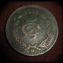 Moneda 5 Centavos 1916 Monograma Cobre Bronce Fecha Clave