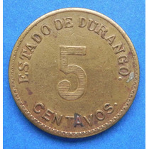 Moneda Mexico Revolucion 5 Cent De Durango 1914 Bronce