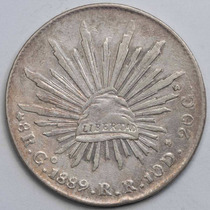 Aaaa 1889 8 Reales Go Rara Moneda Mexicana Peso Au Plata Cf4