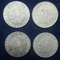 Ocho Monedas De 50 Centavos Méx: 1970´s Y 80 (x4)