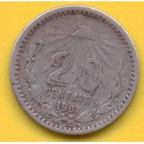 20 Centavos 1907 Curvo Plata Mexico Presidente Porfirio Diaz