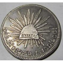 Moneda Mexico 8 R Durango 1827 Rl Plata Excelente Muy Rara