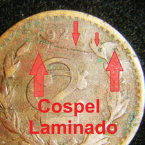 Moneda Defecto Cospel Laminado 2 Centavos 1927 Monograma