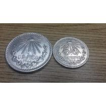 Monedas De Plata Un Peso Y 50 Centavos Resplandor