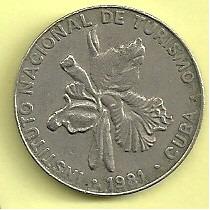 Moneda Cuba 25 Centavos (1981) Orquidea