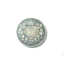 Canada 10 Centavos Fecha 1919 Plata Ley 0.925 17mm 2.1g
