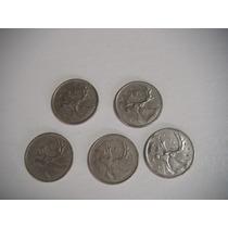 5 Monedas De 25 Centavos De Dolar Canadienses