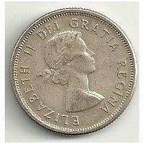 Moneda De Plata Canada 25 Cents (1957) Omm