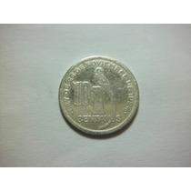 Guatemala 10 Centavos Fecha 1928 Plata Ley 0.720 3.1g 20mm