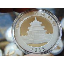 2015 Panda Moneda De Plata Original Nueva Pura Ley .999