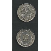 Grr-moneda De Singapur 10 Cents 1968-1974, Caballito De Mar