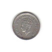 1/4 Rupia 1943 Plata India Británica Emperador Jorge Vl Hm4