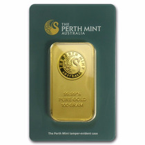 Australia, Lingote 100 Gramos Oro Puro .9999 Perth Mint.