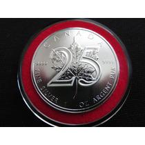 Moneda Plata Onza 25 Años De La Serie Hoja De Maple