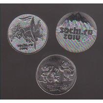 Colecc. De 3 Monedas Olimpiadas De Invierno Sochi Rusia 2014