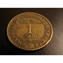 Francia Antigua Y Rara Moneda De Un Franco 1923 Mercurio