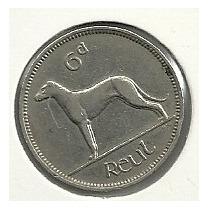 Moneda Irlanda 6 Pence (1940) Perro
