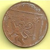 Moneda Inglaterra 2 Pence (2008) León Y Reina