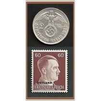 Grr-moneda Alemania Nazi 2 Marcos Plata 1938 + Timbre Hitler