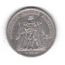 5 Francos 1873 Plata Francia Moneda Hércules Mitología Hm4