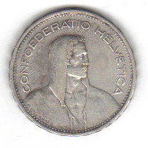 5 Francos 1932 Plata Suiza Guillermo Tell - Hm4