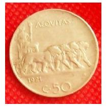 50 Centesimi Lira 1921 Moneda Italia Rey Víctor Manuel Ill