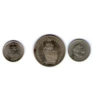 3 Monedas Suizas Paquete 2 Francos, 1/2 Franco Y 10 Céntimos