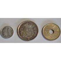 Paquete Monedas De 1, 5 Y 25 Pesetas 1989, 1975 Y 1990