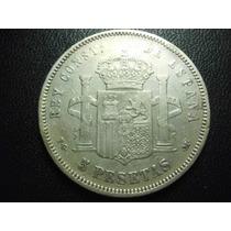 Moneda España Alfonso Xiii 5 Pesetas Fecha 1891 (91) Plata