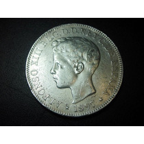España 1 Peso Alfonso Xiii Fecha 1897 Plata Ley 0.900