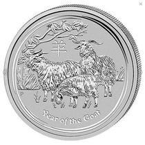 Moneda 2015 Cabra Lunar Australiana 1oz Troy .999 Plata Pura