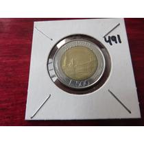 #491 Moneda Del Mundo Bimetalica Italia 500 Liras 1983