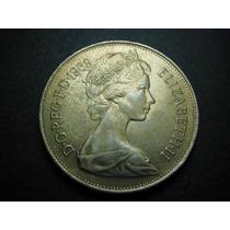 Inglaterra 10 Nuevos Peniques Fecha 1969 Niquel 28mm