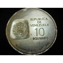 Venezuela Moneda 10b 100 Aniv. Simon Bolivar 1973 Plata