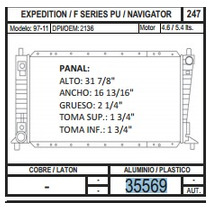 Radiador Expedition / Navigator 97-04 V8 4.8 / 5. 35569
