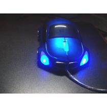 Mouse Optico Cable Usb 2.0 Figura Carrito Azul Con Luces