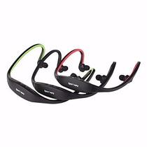 Auriculares Deportivos Wireless, Mp3 Y Soporte Para Tf + Fm