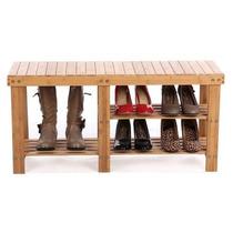 Zapatera Y Banca De Madera De Bambu Organiza Botas Y Zapatos