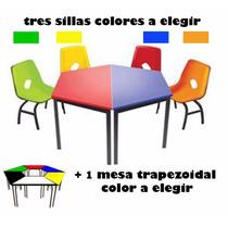 Mesa Escolar Trapezoidal Con 3 Sillas Preescolar + Colores
