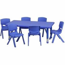 Mesa De Actividades Escolar 6 Sillas Ajustable Color Azul