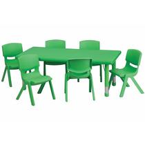 Mesa De Actividades Escolar Ajustable 6 Sillas Color Verde