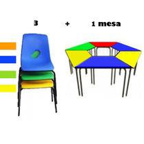 Silla Preescolar + Mesa Trapezoidal Kit