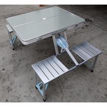 Mesa Para Jardin De Alumino Pegable Con Asientos