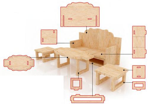 Muebles Para Casa De Muñecas Mdf Kit De Muebles Miniatura  $ 16500