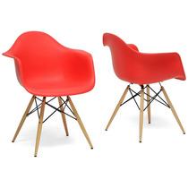 Juego 2 Sillas Decorativa Moderna Contemporanea Rojas