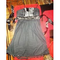 Precioso Vestido Negro Dama Con Horganza Talla S Idd