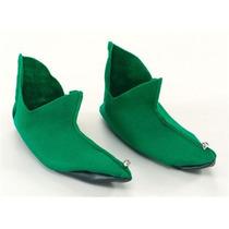 Elf Costume - Green Felt Zapatos Papá Pixie Disfraces