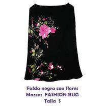 Falda Negra Con Flores