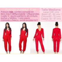 Palazzo Jumpsuit Body Rojo Pantalón Vestido Talla Mediana 34